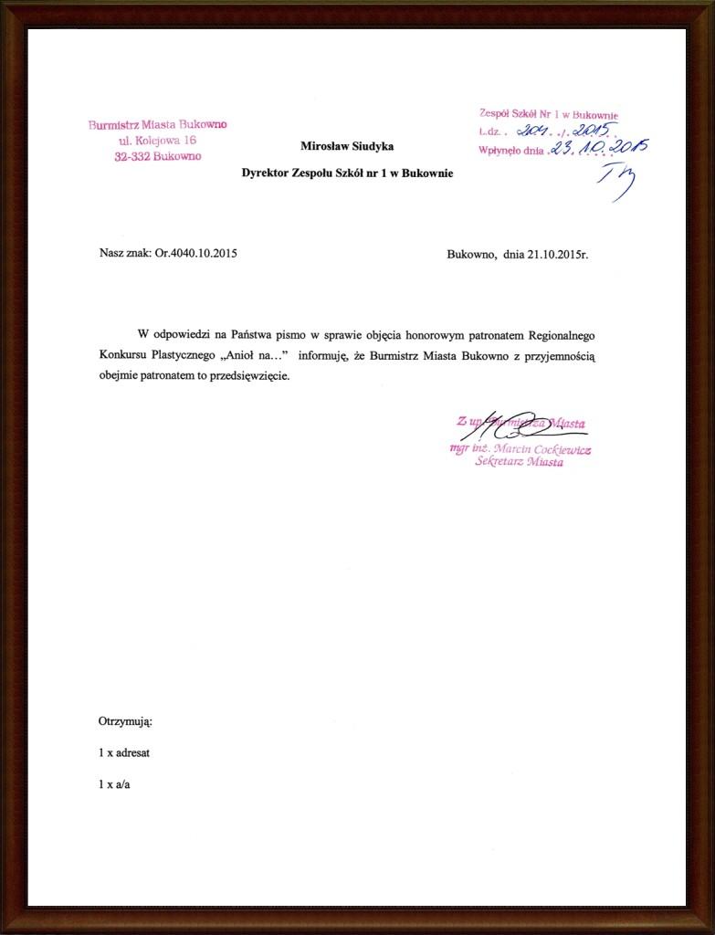 Aniał na... (2015) - patronat Burmistrza Bukowna